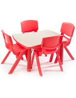 Red Play Table and Chairs
