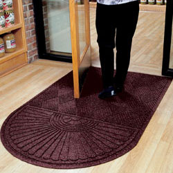 Floor Rugs Maroon Entry Mat With Half Oval End