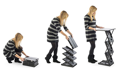Folding Literature Racks with Collapsible Frames