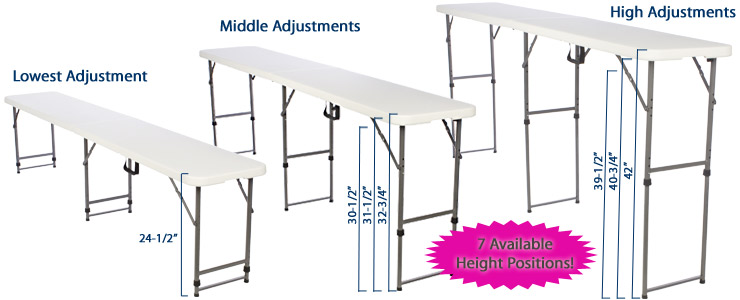 Folding Tables Adjustable Height Plastic Top