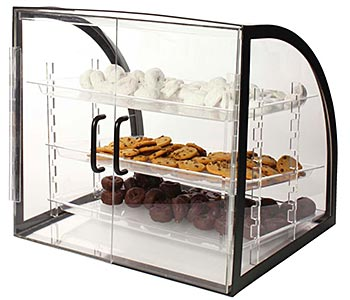 Countertop food display case rear view