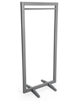 Gray Rectangular Minimal Boho Wood Clothing Stand