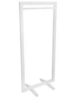 Open concept square frame garment hanger stand