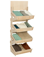 Stainable 4 Bin Wooden Floor Stand