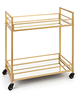 Rectangular french trolley bar cart with mirrored glass shelves