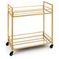 31 inch tall french trolley bar cart with gold metallic finish