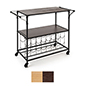 Liquor cart with wine rack with paulownia wood 2 tiered shelving