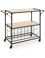 Rectangular liquor cart with wine rack and matte black frame