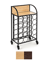 Wine rack with wheels includes paulownia wood and black metal accents