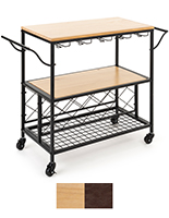 Beverage cart with wine storage features a wheeled rectangular base