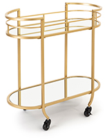 Oval serving cart on wheels with two mirrored shelves
