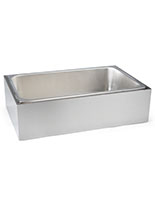 Stainless steel ice holder housing with industrial styling