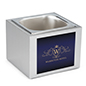 Branded steel countertop ice bin with six inch width
