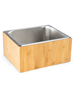 Ice pan holder with natural wood finish