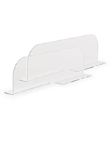 Clear acrylic shelf dividers with stabilizer edges