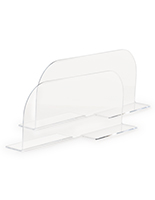 Acrylic divider for metal shelving with stabilizing feet