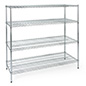 Commercial wire rack shelving has 60 inch wide tiers