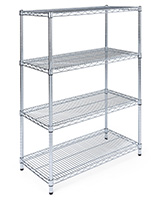Free standing wire shelving has adjustable tiers