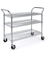 Chrome wire utility cart has two push bars