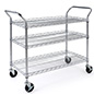 Chrome wire utility cart has four caster wheels