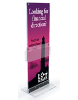 Large Printed Vertical Graphic on Floor Stand with Storage for Advertising