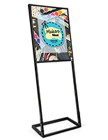 SEG tension fabric poster stand with 22x28 custom printed front panel on metal frame