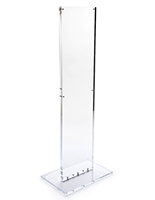 Indoor acrylic floor sign totem display with rounded top edges