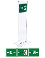 Weighted indoor acrylic totem exit sign set