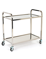 2 tier stainless steel service cart with polished silver finish