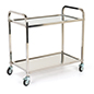 2 tier stainless steel service cart with 66.1 lbs weight capacity per shelf