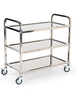 3 tier stainless steel utility cart with overall width of 37.25 inches