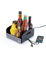black restaurant condiment caddy with USB charger