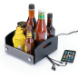 black acrylic restaurant condiment caddy with USB charger