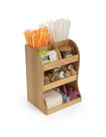 11-inch wide x 15.5-inch high coffee station wood condiment organizer with 8 pockets