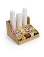 14.8-inch wide by 9.5-inch tall wood coffee condiment station with natural finish