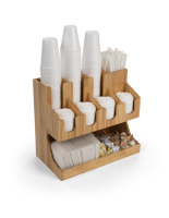 17.6w x 15.6h wood coffee condiment station organizer with 11 pockets