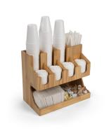 17.6w x 15.6h wood coffee condiment station organizer with 11 pockets