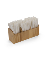 14.5-inch wide by 6.25-inch tall wood stirrer dispenser straw caddy with three pockets