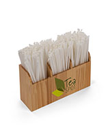 Wood bar straw caddy with full color graphics