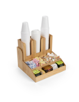14.75-inch wide x 12.75-inch tall wood breakroom condiment organizer