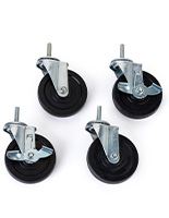 Mobile shelving cart wheels have a 4 inch diameter