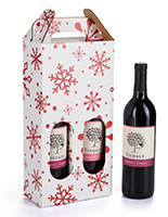 Pre-printed cardboard wine carrier with 16.5 inch height