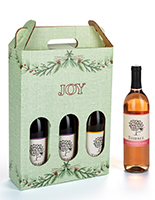 Pre-printed cardboard wine carrier with Joy holiday design