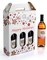 Pre-printed cardboard wine carrier with holiday design