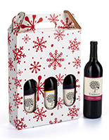Pre-printed cardboard wine carrier with stock holiday design