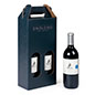 Custom printed cardboard wine tote with 16.5 inch overall height