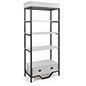 French country etagere shelving has black matte powder coated rails