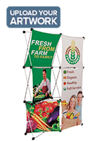 Trade show popup with poly-knit fabric panels