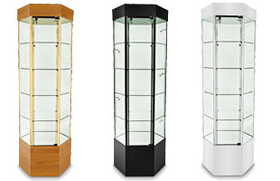 "73""H Hexagonal Glass Display Case Tower"