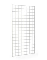 4' White Wire Grid Panel with Clothing Hangers
